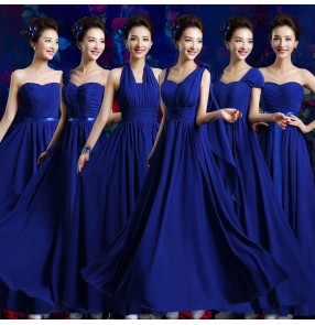 Royal blue colored women's evening party cocktail dresses wedding party bridesmaid dress stage performance chrous singers host dresses