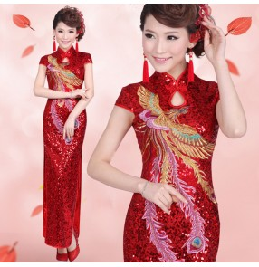 Women's chinese dresses cosktail wedding party evening dresses traditional phenix stage performance singers host dresses cheongsam dress
