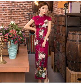 Women's chinese dress traditional chinese qipao cheongsam dresses competition model show stage performance evening party dresses