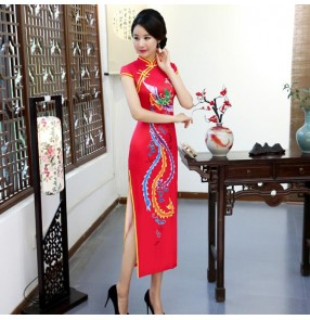 Women's chinese dress china wind traditional oriental qipao cheongsam china wedding party model show performance evening dresses