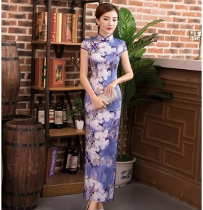 Women's chinese dress traditional chinese qipao dresses cheongsam miss etiquette model show stage perfomance evening dress