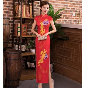 Women's chinese dress china traditional qipao cheonsam dresses miss etiquette host singers stage performance party evening dress