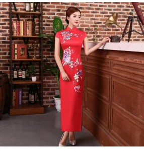 Women's chinese traditional qipao dresses chinese dress flowers printed satin retro oriental style cheongsam dresses host miss etiquette dresses