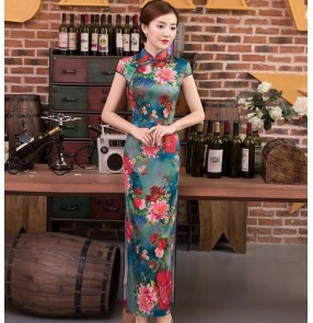 Women's chinese dresses traditional qipao cheongsam dress oriental retro style miss etiquette stage performance host evening dress