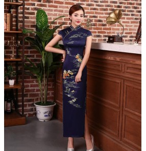 Women's chinese dress china retro traditional qipao dresses cheongsam host singers stage performance model show evening party dress