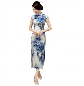 Women's silk chinese dresses chinese style retro traditional oriental cheongsam qipao dresses cocktail party singers host evening dress