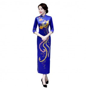 Women's chinese dresse chinese style traditional oriental qipao dresses miss etiquette cheongsam dresses banquet evening party performance dress