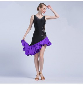 Custom size black with purple womne's girls competition rhinstones latin dance dresses salsa chacha rumba dance dress skirts