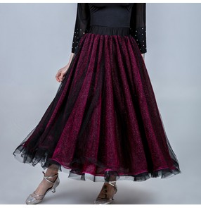 Women's ballroom dancing skirt  competition stage performance wine with red colored ballroom waltz tango dance skirts