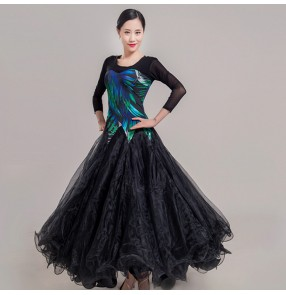 Women's girls black with blue printed ballroom dancing dress waltz tango flamenco dance dresses