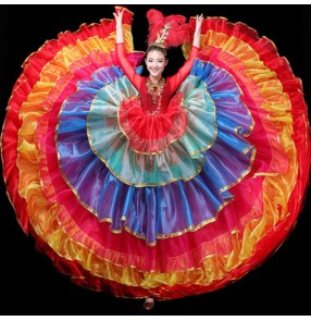 Flamenco dress  for women red rainbow colored bull dance spanish stage performance samba opening dance chorus stage performance dresses