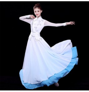 White with blue mongolian dresses stage performance chinese folk dance minority mongolia stage performance dresses