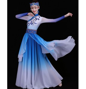 Women's girls mongolian dresses chinese folk dance dress white with blue handmade monglia minority stage performance drama cosplay robes