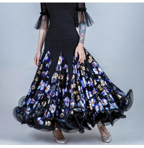 Women's printed ballroom dancing skirts flamenco skirts stage performance waltz tango dancing skirts