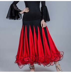 Women's black with red flamenco ballroom dancing skirts stage performance waltz tango dance skirts