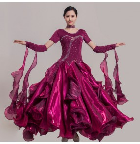 Women's girls rhinestone competition ballroom dancing dresses wine purple green pink stage performance modern dance flamenco waltz tango dance dress