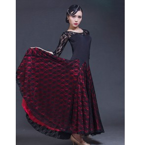Women's girls long sleeves lace ballroom dancing dresses flamenco waltz tango dance dresses