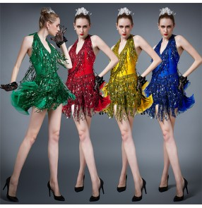 Women's girls sequin tassels competition latin dance dresses red gold green blue professional salsa rumba samba dance dress ruffles skirts