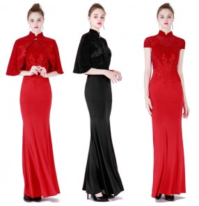 Women's girls lace chinese dresses china style traditional qipao dresses host singers model show performance dress