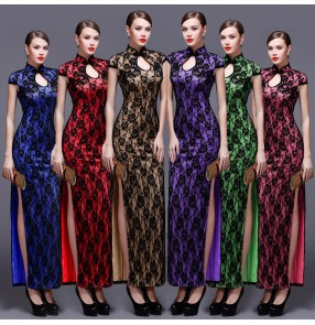 Women's lace chinese dresses qipao dresses traditional cheongsam dresses host singers stage performance miss etiquette dress