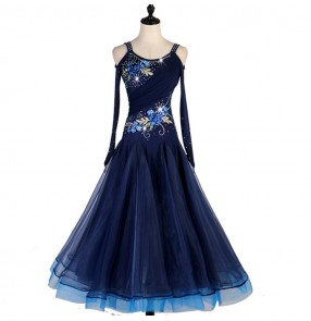 Women's girls navy blue ballroom dancing dresses stage performance professional competition waltz tango dance dresses