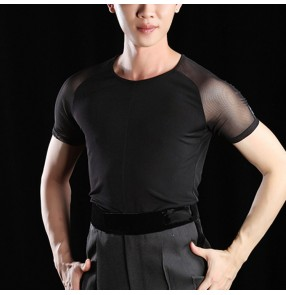 Men's black ballroom dancing latin dance shirts male competition professional stage performance modern dance salsa rumba chacha tops