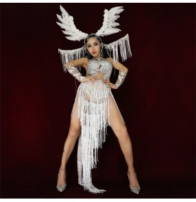 Women's white tassels competition show stage performance jazz dance bodysuits dress samba singers diamond group dancers model dance dresses