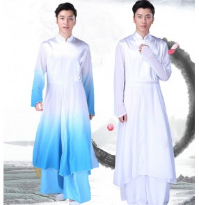 Men's chinese folk costumes kungfu hanfu stage performance ancient traditional classical dance uniforms stage performance costumes
