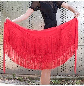Women's tassels red black latin dance skirts stage performance salsa rumba chacha dance hip scarf wrap skirts