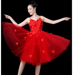 Women's pink red white singers chorus princess jazz dance dress modern dance group dancers stage performance flower dresses