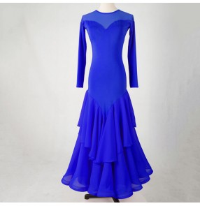 Women's girls royal blue black red ballroom dancing dresses flamenco waltz tango foxtrot stage performance dresses