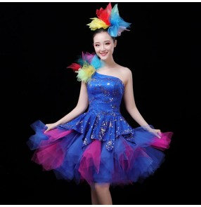 Women's girls royal blue sequins modern dance singers jazz dance dresses chorus stage performance cheer leaders lead dancers opening dance dresses