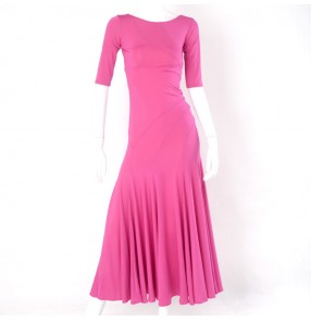 Women's fuchsia black ballroom dancing dresses flamenco dresses waltz tango stage performance dresses costumes