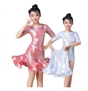 Girls children competition latin dance dresses modern dance school stage performance ballroom salsa chacha rumba dance dresses