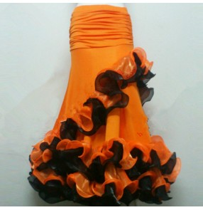 Women's girls black orange red ballroom dancing skirts competition stage performance fox trot waltz tango dance skirts
