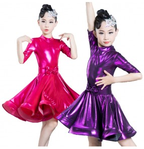 Girls kids children pink blue competition latin dance dresses stage performance salsa rumba samba chacha dance dresses