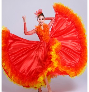 Women's red colored spanish bull dance dresses stage performance flamenco dresses opening stage performance chorus singers dance dresses
