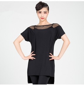 Women's girls black colored latin dance dresses fitness pratice stage performance loose samba chacha salsa dance tops shirts