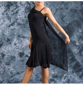 Women's competition latin dresses stage performance black female girls latin salsa rumba chacha dance dresses