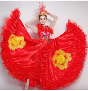Flamenco dresses women female girls flowers Spanish folk bull dance stage performance ballroom dancing dresses