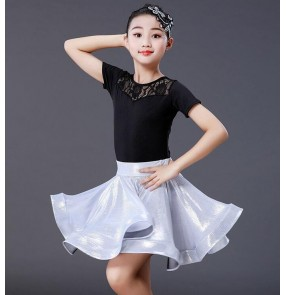 Grils children competition latin dance dresses stage performance modern dance salsa rumba chacha dance tops and skirts