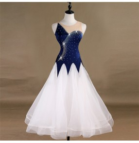 Women's girls navy red colored ballroom dancing dresses diamond waltz tango dancing flamenco dresses