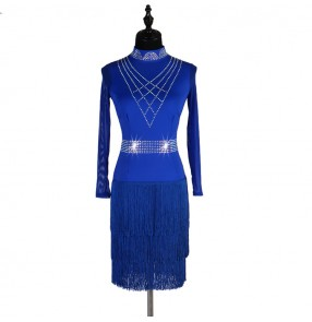 Women's girls royal blue black rhinestones competition latin dance dresses tassels modern dance salsa rumba chacha dance skirts costumes