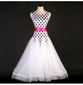 Women's girls white polka dot competition ballroom dancing dresses stage performance waltz tango dance dresses costumes