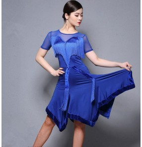 Women's royal blue red latin dance dresses tassels competition salsa rumba chacha dance samba dance dresses