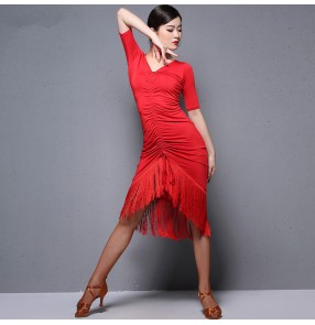 Women's girls red black competition tassels latin dance dresses modern dance salsa chacha rumba dance dress skirts costumes