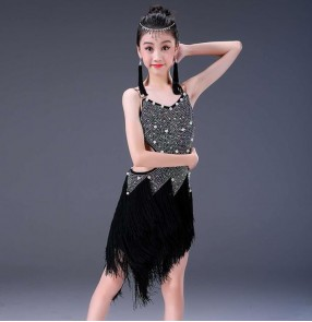 Girls diamond competition professional latin dance dresses stage performance salsa rumba chacha dance dresses