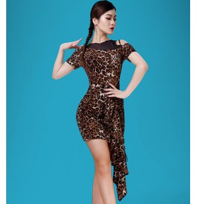 Women's leopard tassels latin dance dresses stage performance salsa rumba chacha dance tops and skirts