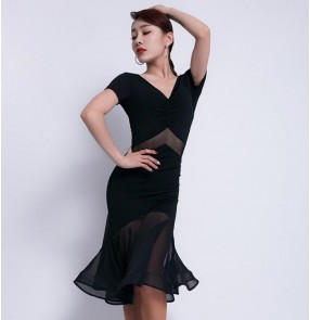 Women's black coffee latin dance dress robe de danse latine stage performance rumba salsa chacha dance costumes dress