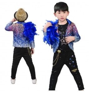 Boy royal blue sequins modern dance jazz dance outfits kids children modern dj hiphop street dance tops and pants costumes